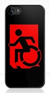 Accessible Exit Sign Project Wheelchair Wheelie Running Man Symbol Means of Egress Icon Disability Emergency Evacuation Fire Safety iPhone Case 110