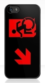 Accessible Exit Sign Project Wheelchair Wheelie Running Man Symbol Means of Egress Icon Disability Emergency Evacuation Fire Safety iPhone Case 112