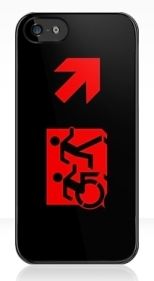 Accessible Exit Sign Project Wheelchair Wheelie Running Man Symbol Means of Egress Icon Disability Emergency Evacuation Fire Safety iPhone Case 118