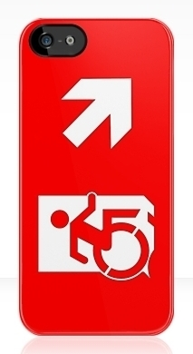 Accessible Exit Sign Project Wheelchair Wheelie Running Man Symbol Means of Egress Icon Disability Emergency Evacuation Fire Safety iPhone Case 12