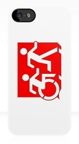 Accessible Exit Sign Project Wheelchair Wheelie Running Man Symbol Means of Egress Icon Disability Emergency Evacuation Fire Safety iPhone Case 125