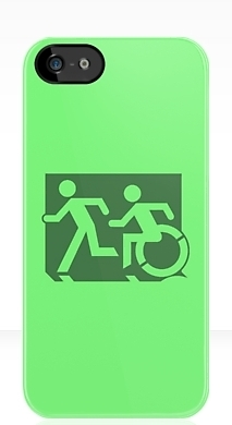 Accessible Exit Sign Project Wheelchair Wheelie Running Man Symbol Means of Egress Icon Disability Emergency Evacuation Fire Safety iPhone Case 127