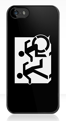 Accessible Exit Sign Project Wheelchair Wheelie Running Man Symbol Means of Egress Icon Disability Emergency Evacuation Fire Safety iPhone Case 133