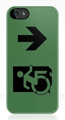 Accessible Exit Sign Project Wheelchair Wheelie Running Man Symbol Means of Egress Icon Disability Emergency Evacuation Fire Safety iPhone Case 134