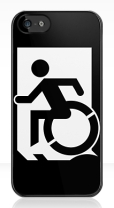 Accessible Exit Sign Project Wheelchair Wheelie Running Man Symbol Means of Egress Icon Disability Emergency Evacuation Fire Safety iPhone Case 135