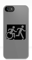 Accessible Exit Sign Project Wheelchair Wheelie Running Man Symbol Means of Egress Icon Disability Emergency Evacuation Fire Safety iPhone Case 137