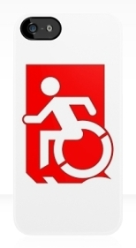 Accessible Exit Sign Project Wheelchair Wheelie Running Man Symbol Means of Egress Icon Disability Emergency Evacuation Fire Safety iPhone Case 139