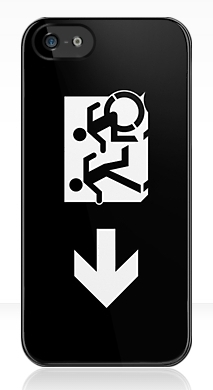Accessible Exit Sign Project Wheelchair Wheelie Running Man Symbol Means of Egress Icon Disability Emergency Evacuation Fire Safety iPhone Case 140
