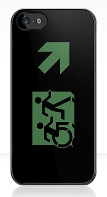 Accessible Exit Sign Project Wheelchair Wheelie Running Man Symbol Means of Egress Icon Disability Emergency Evacuation Fire Safety iPhone Case 142