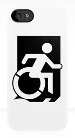 Accessible Exit Sign Project Wheelchair Wheelie Running Man Symbol Means of Egress Icon Disability Emergency Evacuation Fire Safety iPhone Case 145