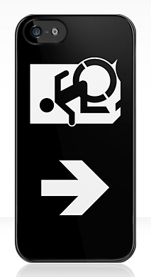 Accessible Exit Sign Project Wheelchair Wheelie Running Man Symbol Means of Egress Icon Disability Emergency Evacuation Fire Safety iPhone Case 146