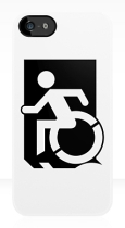 Accessible Exit Sign Project Wheelchair Wheelie Running Man Symbol Means of Egress Icon Disability Emergency Evacuation Fire Safety iPhone Case 147