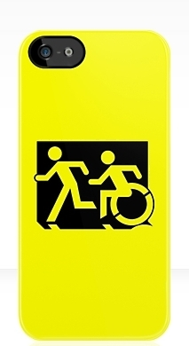 Accessible Exit Sign Project Wheelchair Wheelie Running Man Symbol Means of Egress Icon Disability Emergency Evacuation Fire Safety iPhone Case 149