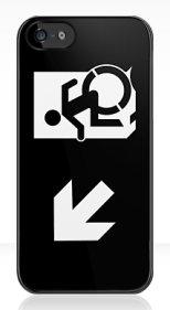 Accessible Exit Sign Project Wheelchair Wheelie Running Man Symbol Means of Egress Icon Disability Emergency Evacuation Fire Safety iPhone Case 150