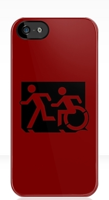 Accessible Exit Sign Project Wheelchair Wheelie Running Man Symbol Means of Egress Icon Disability Emergency Evacuation Fire Safety iPhone Case 151