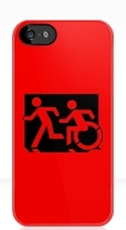 Accessible Exit Sign Project Wheelchair Wheelie Running Man Symbol Means of Egress Icon Disability Emergency Evacuation Fire Safety iPhone Case 153