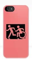 Accessible Exit Sign Project Wheelchair Wheelie Running Man Symbol Means of Egress Icon Disability Emergency Evacuation Fire Safety iPhone Case 155