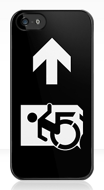 Accessible Exit Sign Project Wheelchair Wheelie Running Man Symbol Means of Egress Icon Disability Emergency Evacuation Fire Safety iPhone Case 160
