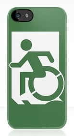 Accessible Exit Sign Project Wheelchair Wheelie Running Man Symbol Means of Egress Icon Disability Emergency Evacuation Fire Safety iPhone Case 16
