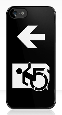 Accessible Exit Sign Project Wheelchair Wheelie Running Man Symbol Means of Egress Icon Disability Emergency Evacuation Fire Safety iPhone Case 161