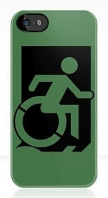 Accessible Exit Sign Project Wheelchair Wheelie Running Man Symbol Means of Egress Icon Disability Emergency Evacuation Fire Safety iPhone Case 2