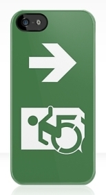 Accessible Exit Sign Project Wheelchair Wheelie Running Man Symbol Means of Egress Icon Disability Emergency Evacuation Fire Safety iPhone Case 25