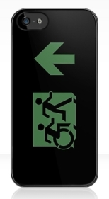Accessible Exit Sign Project Wheelchair Wheelie Running Man Symbol Means of Egress Icon Disability Emergency Evacuation Fire Safety iPhone Case 27