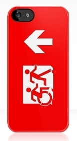 Accessible Exit Sign Project Wheelchair Wheelie Running Man Symbol Means of Egress Icon Disability Emergency Evacuation Fire Safety iPhone Case 29