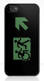 Accessible Exit Sign Project Wheelchair Wheelie Running Man Symbol Means of Egress Icon Disability Emergency Evacuation Fire Safety iPhone Case 3