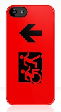 Accessible Exit Sign Project Wheelchair Wheelie Running Man Symbol Means of Egress Icon Disability Emergency Evacuation Fire Safety iPhone Case 30