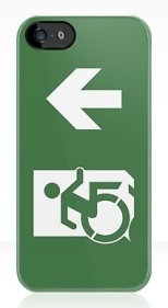 Accessible Exit Sign Project Wheelchair Wheelie Running Man Symbol Means of Egress Icon Disability Emergency Evacuation Fire Safety iPhone Case 31