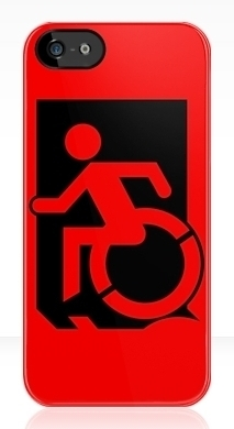 Accessible Exit Sign Project Wheelchair Wheelie Running Man Symbol Means of Egress Icon Disability Emergency Evacuation Fire Safety iPhone Case 32