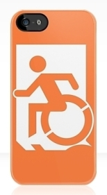 Accessible Exit Sign Project Wheelchair Wheelie Running Man Symbol Means of Egress Icon Disability Emergency Evacuation Fire Safety iPhone Case 35