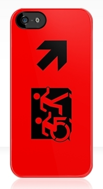 Accessible Exit Sign Project Wheelchair Wheelie Running Man Symbol Means of Egress Icon Disability Emergency Evacuation Fire Safety iPhone Case 36