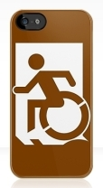 Accessible Exit Sign Project Wheelchair Wheelie Running Man Symbol Means of Egress Icon Disability Emergency Evacuation Fire Safety iPhone Case 37