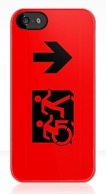 Accessible Exit Sign Project Wheelchair Wheelie Running Man Symbol Means of Egress Icon Disability Emergency Evacuation Fire Safety iPhone Case 38