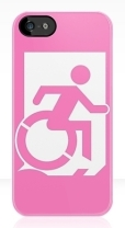 Accessible Exit Sign Project Wheelchair Wheelie Running Man Symbol Means of Egress Icon Disability Emergency Evacuation Fire Safety iPhone Case 43