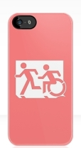 Accessible Exit Sign Project Wheelchair Wheelie Running Man Symbol Means of Egress Icon Disability Emergency Evacuation Fire Safety iPhone Case 45