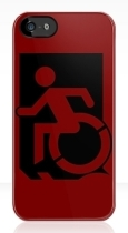 Accessible Exit Sign Project Wheelchair Wheelie Running Man Symbol Means of Egress Icon Disability Emergency Evacuation Fire Safety iPhone Case 46