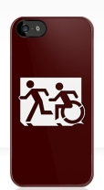 Accessible Exit Sign Project Wheelchair Wheelie Running Man Symbol Means of Egress Icon Disability Emergency Evacuation Fire Safety iPhone Case 47