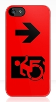 Accessible Exit Sign Project Wheelchair Wheelie Running Man Symbol Means of Egress Icon Disability Emergency Evacuation Fire Safety iPhone Case 49