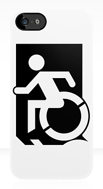 Accessible Exit Sign Project Wheelchair Wheelie Running Man Symbol Means of Egress Icon Disability Emergency Evacuation Fire Safety iPhone Case 59