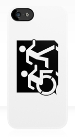 Accessible Exit Sign Project Wheelchair Wheelie Running Man Symbol Means of Egress Icon Disability Emergency Evacuation Fire Safety iPhone Case 61