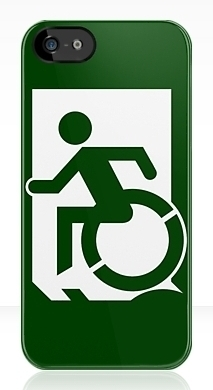 Accessible Exit Sign Project Wheelchair Wheelie Running Man Symbol Means of Egress Icon Disability Emergency Evacuation Fire Safety iPhone Case 62