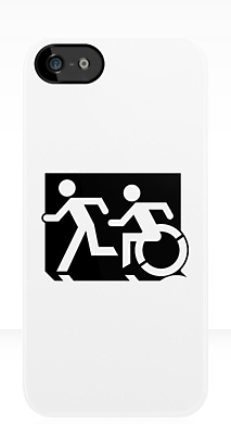 Accessible Exit Sign Project Wheelchair Wheelie Running Man Symbol Means of Egress Icon Disability Emergency Evacuation Fire Safety iPhone Case 70