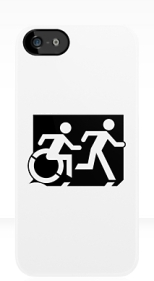 Accessible Exit Sign Project Wheelchair Wheelie Running Man Symbol Means of Egress Icon Disability Emergency Evacuation Fire Safety iPhone Case 74