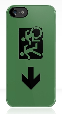 Accessible Exit Sign Project Wheelchair Wheelie Running Man Symbol Means of Egress Icon Disability Emergency Evacuation Fire Safety iPhone Case 75