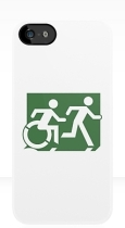 Accessible Exit Sign Project Wheelchair Wheelie Running Man Symbol Means of Egress Icon Disability Emergency Evacuation Fire Safety iPhone Case 78