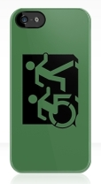 Accessible Exit Sign Project Wheelchair Wheelie Running Man Symbol Means of Egress Icon Disability Emergency Evacuation Fire Safety iPhone Case 79