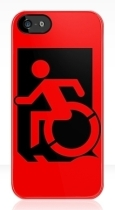 Accessible Exit Sign Project Wheelchair Wheelie Running Man Symbol Means of Egress Icon Disability Emergency Evacuation Fire Safety iPhone Case 80